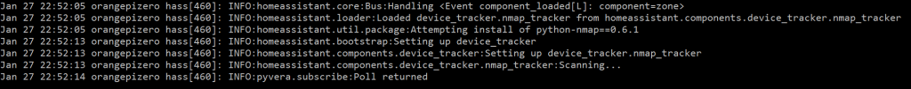 När du startar om HA kommer du se nått liknande med nmap_tracker i loggen.