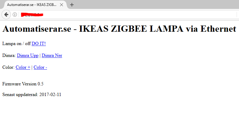 Mitt gränssnitt blev kanske inte det finaste, men det är ett API som tillåter kommandon via http url:er