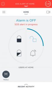 Testade ett SOS panic alarm med key foben. Direkt börjar Somfy One larma och ett mail skickas till personer i listan