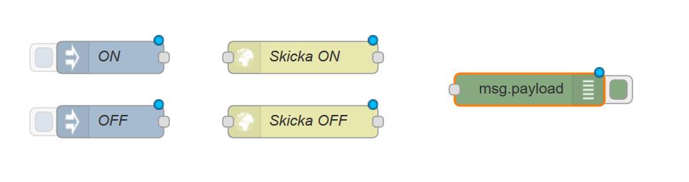 Dra nu in en debug node som bilden visar, den byter namn till msg.payload automatiskt.
