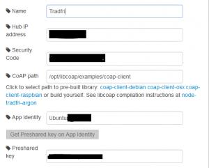 För att sedan konfigurera node-red till Trådfri skriv följande: