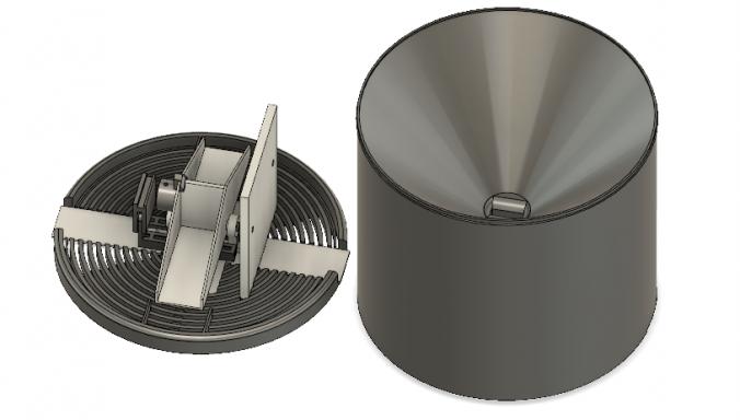 Så här ser den nuvarande modellen ut i Fusion 360, stl filen för den finns längre ner på sidan.