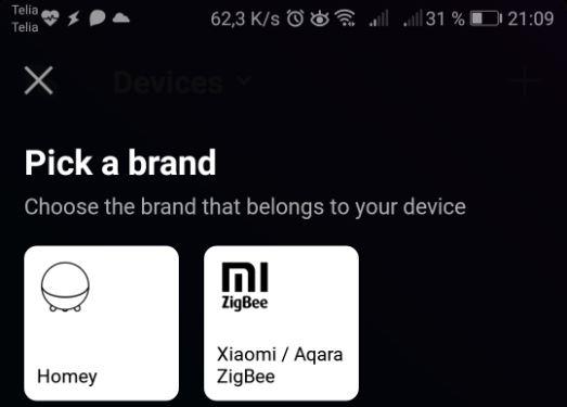 Jag kan nu välja Xiaomi / Aqara Zigbee istället för Homey när jag vill lägga till en enhet.