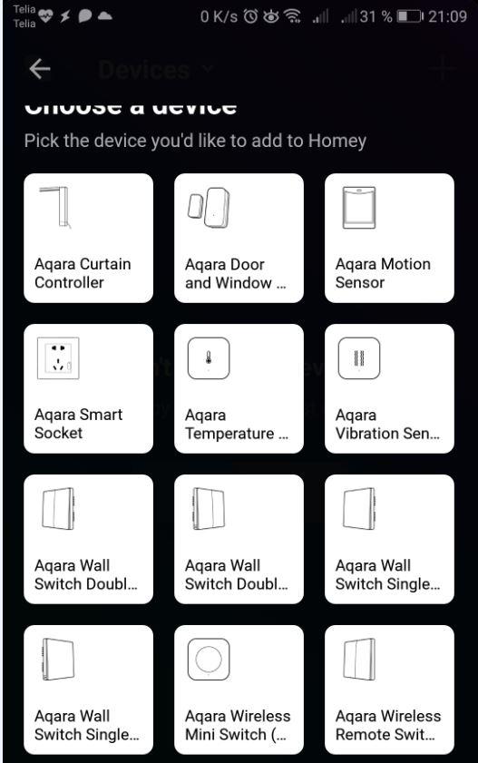 Nu kunde jag välja precis den sensortypen jag vill inkludera och få en guide på hur enheten läggs till i Homey