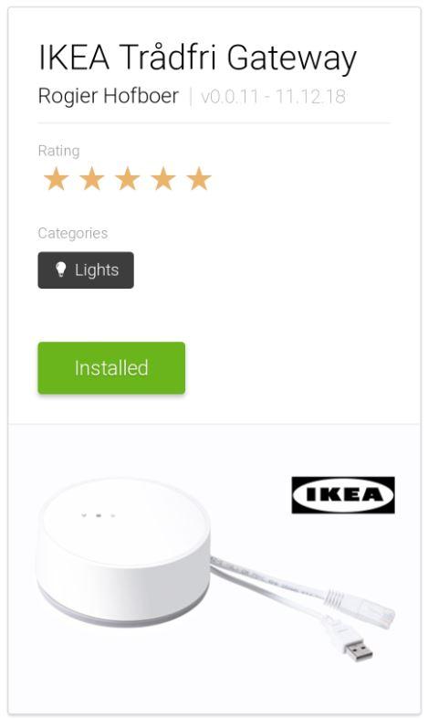 Jag kommer nu använda IKEA Gateway:en för att styra belysningen, men styra det från Homey