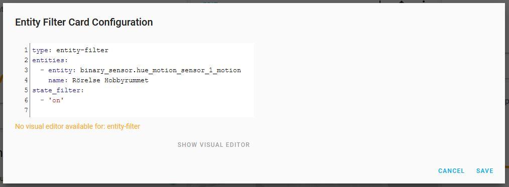 LoveLace UI Entity Filter Card GUI Settings