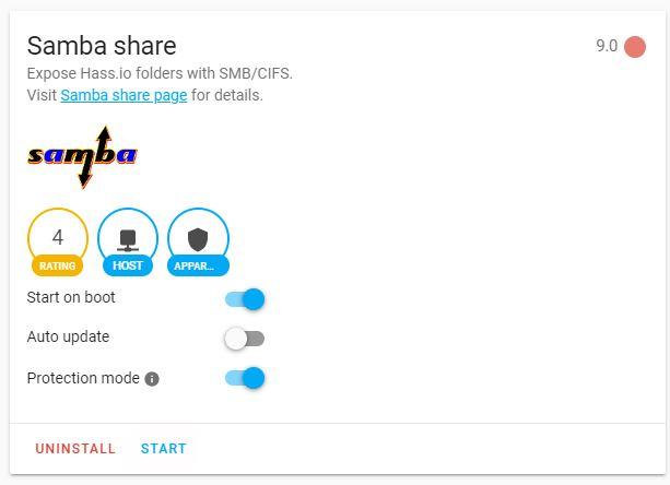 Nu kan du starta tjänsten samba share
